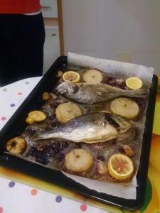 この日の夕食はお魚のグリル
