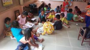 布チョッキン活動で支援している幼稚園の様子