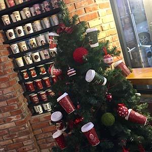 あちこちに飾られたクリスマスツリー