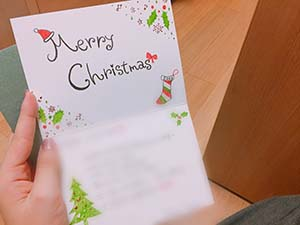 韓国の友達に送った手書きのクリスマスカード