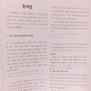 高級韓国語読解の授業で使用する資料。中学1年の国語の教科書に載っている物語だそうです。