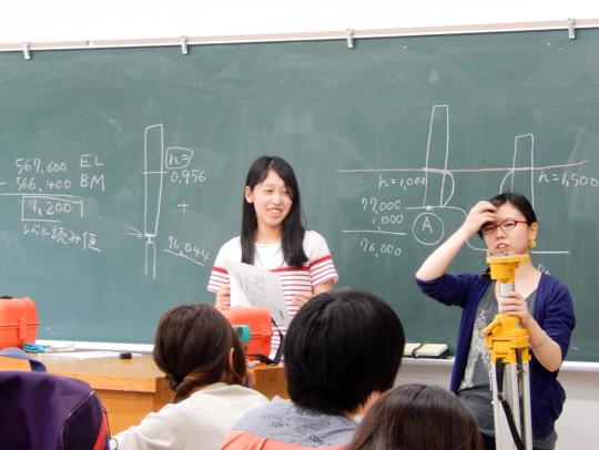 左が長谷河さん。諏訪原遺跡発掘調査事前勉強会にて、後輩たちに光波測距儀の使い方を指導!